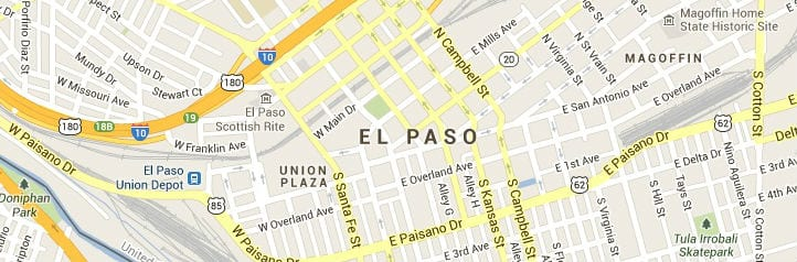 El Paso Texas Map of Answering Service Coverage Area
